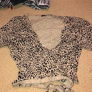 Brandy melville leopard wrap crop top